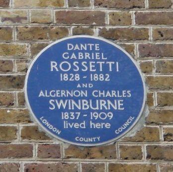 Targa dedicata a Dante Gabriel Rossetti, Londra