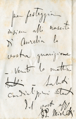Lettera di F.P. Michetti, settembre 1889, concessione Famiglia Ciavolich - Copyright © all right reserved -