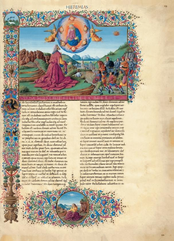 Saturnino Gatti, Visione di Geremia - facsimile della Bibbia di Federico da Montefeltro, concessione Franco Cosimo Panini Editore (2003-2005).