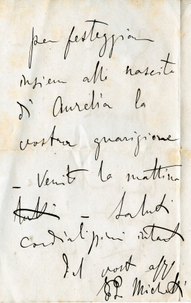 Lettera di F.P. Michetti, settembre 1889, concessione Famiglia Ciavolich – Copyright ©