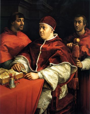 Leone X in un dipinto di Raffaello, 1518 - Uffizi, Firenze