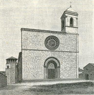 La Chiesa di San Silvestro a L'Aquila in una stampa ottocentesca.