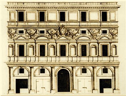 Palazzo Branconio dell'Aquila in una stampa del '600