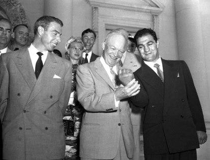 Rocky Marciano, Joe DiMaggio e il Presidente Eisenhower, 1953